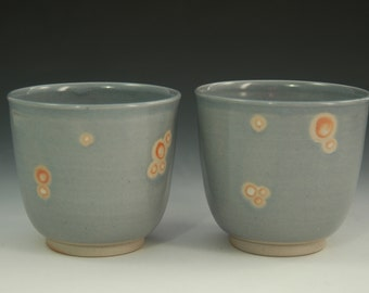 Hand Thrown Pottery Cup, Grey Yunomi with Orange Bubbles, Stoneware Small Cup, Gray Ceramic Cup, Small Handmade Cup, Quirky Cup, Whiskey Cup