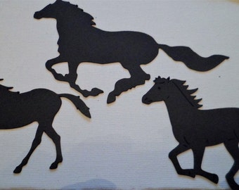 Silhouette Die Cut Horses x 12 (4 of each)