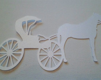 Silhouette Die Cut Horse & Carriage x 6 in Ice Gold White