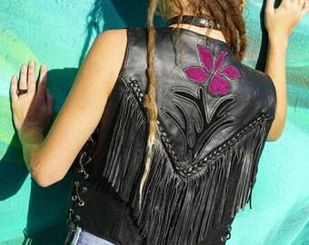 Vintage edgy fringe leather vest