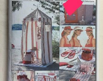 Beach Accessories Burda 8113 Tent, Screen, Beach Mat, Bags, Hats & Flip Flops Pattern Uncut