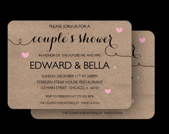 Couple's Wedding Shower invitation - The Audrie (Invitations + Envelopes)