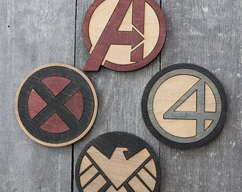 Marvel Supergroups Coaster 4-Piece Set | Rustic/Vintage | Hand Stained and Glued | Comic Book Gift | Avengers | X-Men