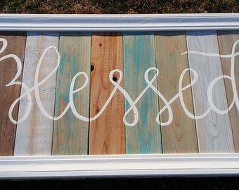 Blessed reclaimed wood sign Christian wood sign rustic beach decor farmhouse wood sign