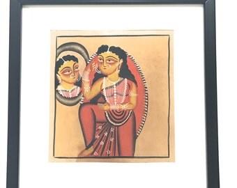 Kalighat Painting on Handmade Paper-5 (Framed)