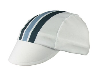 White/blue-stripes moisture wicking cycling cap - handmade cap; moisture wicking cap; bicycle cap; polyester cap; bike wear; cycling clothes