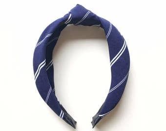 Navy White Stripes Daphne Headband - Fabric headband - Navy headband - Knotted headband - Adult headband - Summer headband
