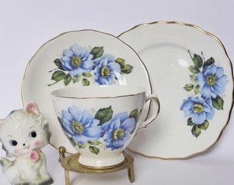 Vintage Royal Osborne Bone China Trio ~ Mid Century Blue Floral Tea Cup Saucer + Cake Plate ~ 1950s Kitchen Decor ~ Teacup Set ~ High Tea