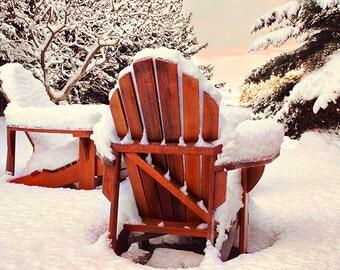 Snow Print, Winter Print, Adirondack Chairs, Cabin Decor, Winter Photography, Snow Photography, Winter Landscapes, Winter Decor,  Canada