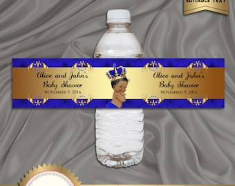 Printable Baby Shower Water Bottle Labels, Royal Baby Shower, Baby Prince, Royal Blue, Digital File, EDITABLE text, Microsoft® Word Format