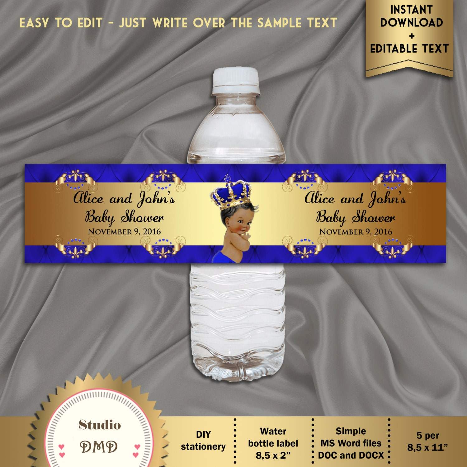 Terrible image within free printable water bottle labels for baby shower