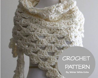 Crochet pattern- shawl, crochet scarf pattern, PDF Instant Download crochet Pattern, crochet triangle scarf pattern, NOT a finished scarf