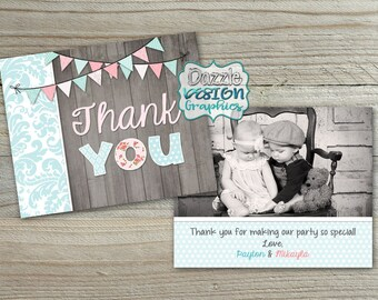 Shabby Chic TWINS THANK YOU card | M2M made to match, coordinating | pennant banner wood shabby | #044 Prints flat or folded Pearl Linen