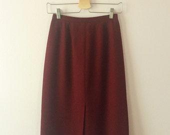 1980s Wool Midi Skirt | Burgundy Wool Skirt | XS S