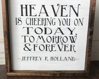 """Farmhouse Style """"Heaven Is Cheering You On"""" Framed Sign"""