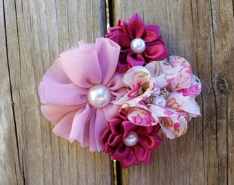 Hair Accessory, Girls Accessory, Baby Headband, Flower Headband, Spring Flower, Valentine's Day, Pearls, Pink and Burgundy, Flower Hair Clip