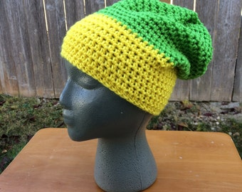 Yellow and Green Beanie | Slouchy Beanie | Color Block Beanie | Green & Yellow Slouchy Beanie | Winter Hat
