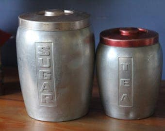 Vintage Retro  1950s Metal Canisters (2)