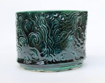 Ceramic Planter forest green, Hand built Unique plant pot, deep green, pottery flower pot, plant pot, green vase
