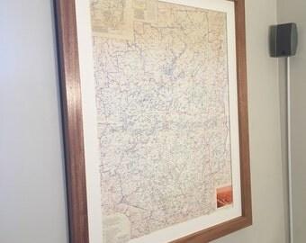 Custom hardwood framed and matted maps
