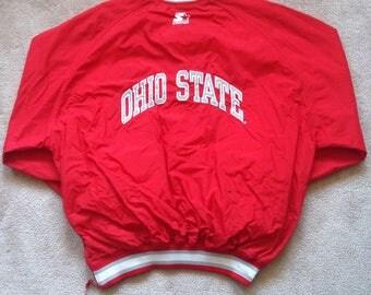 Vintage Ohio state buckeyes NCAA STARTER jacket puffy Nylon Pullover Light weight V Neck Windbreaker men's XXL ohio state starter jacket