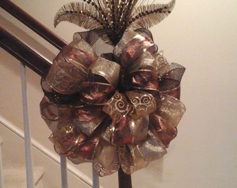Christmas Tree Topper Bow, Shipping Included, Elegant Luxury Designer Bow, Gold Burgundy Christmas Ribbon