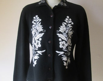 Pastille Black Wool Cardigan Sweater White/Ivory Applique and Embroidery  #16169