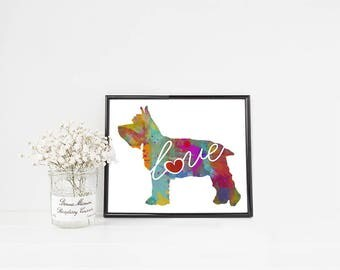 Mini Schnauzer - A Colorful Watercolor Print - Gift for Dog Lovers - Pet Artwork - Pet Loss Gift - Memorial - That Can be Personalized