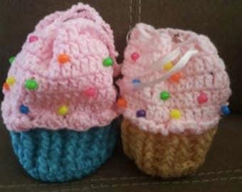 2 crochet cupcake purse lot  handmade