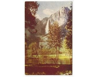 Yosemite Falls California vintage postcard | Yosemite Valley | 1960s CA travel souvenir, vacation scrapbook, mountain waterfall decor