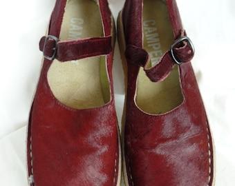 vintage CAMPER oxblood pony-skin deconstructed Mary Jane crepe sole flats: size 38 C (wide width)