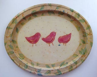 Vintage Oval Painted Tin Tray