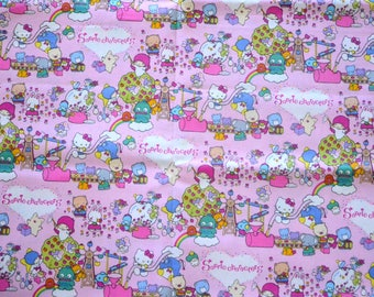 Japanese Fabric Sanrio Characters- Hello Kitty Kiki Lala Twin Little Stars, Pink - fat quarter