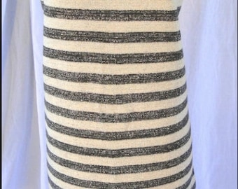 Deadstock New Vintage Geistex Gray & White Striped Stretch Sweater Dress M / L
