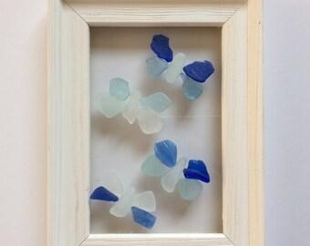 Blue Butterfly suncatcher, Seaglass art gift, sea glass window hanging, beach themed gift