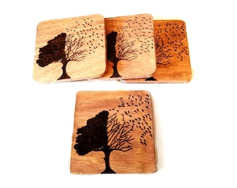 """Set of 4 Hand Engraved """"Trees Blowing in the Wind"""" Wood Coasters"""