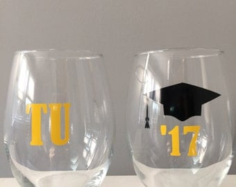 Graduation Gift, College Graduation Gift, Stemless Wine Glasses, Class of 2017, Wine Glasses for Graduation, Wine Glass for Graduate