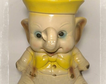 Vintage Baby Dumbo Chalkware Bank/ Jumbo Jr Carnival Chalk Bank/ Collectible Bank/Piggy Bank/Coin Bank/Best Gift Idea / F1315