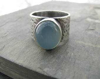 Blue chalcedony wide band ring, textured sterling silver ring, single stone ring, statement ring, luxe boho, boho chic, flower ring band