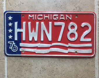 Vintage License Plate 1976 Michigan Transportation License Plates