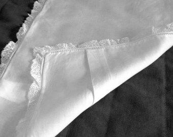 Baby pillowcase, white semi sheer, cotton, with lace, vintage