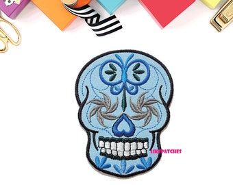 Blue Sugar Skull Ghost Halloween Patch New Sew / Iron On Patch Embroidered Applique Size 7.1cm.x9.3cm.
