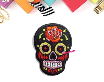 Black Sugar Skull Ghost Halloween Patch New Sew / Iron On Patch Embroidered Applique Size 6.5cm.x9cm.
