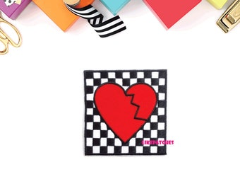 Red Heartbroken Checkered Patch - Red Heart New Sew / Iron On Patch Embroidered Applique Size 6.9cm.x7.1cm.