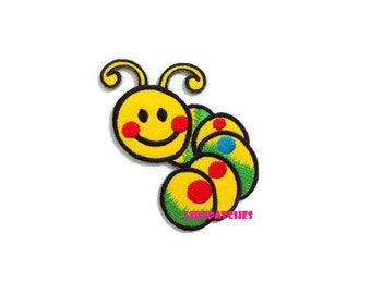 Happy Yellow Worm Patch - Cute Patch New Sew / Iron On Patch Embroidered Applique Size 6.7cm.x7.3cm.