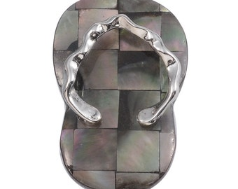 Abalone Shell Mosaic Thong Sandal Pendant without Chain in Silver-Tone