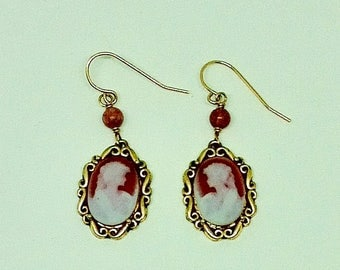 Red agate cameo dangle earrings