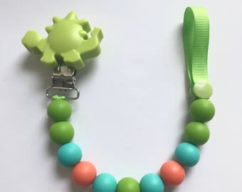 Chompy Paci Clip With Dino-Green
