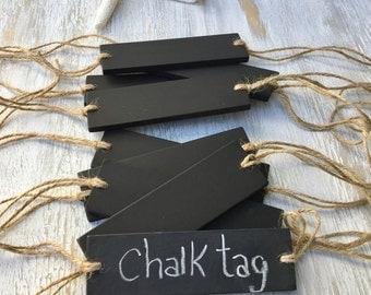 Long Chalkboard Tag- Skinny Basket Chalkboard Signs Horizontal Hanging Sign