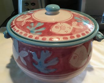 Vintage Vietri Solimene Fish & Coral Covered Casserole Dish Hand Painted